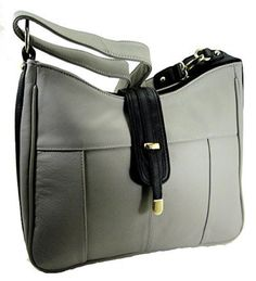 Roma Leathers 7007 Concealed Carry Gun Purse Shoulder/Crossbody Left/Right Hand CCW GRAY - Handbags, Bling & More!