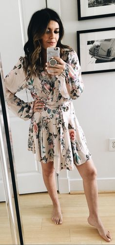 #spring #outfits  White Flower Printed Dress