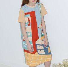 Neverland collection blue floral sweet home kitchen painting print cute dress limited edition