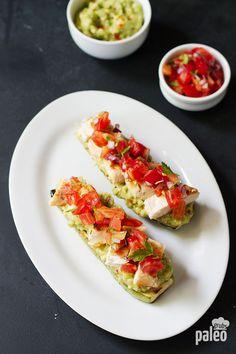 grilled chicken bruchetta on zucchini toast recipe | paleo grubs