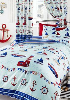 Nautical Boats, Lighthouse, Anchor Single Duvet Cover Quilt Set