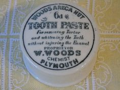 1890/1910 Victorian Toothpaste Pot Complete- W Woods Chemist Plymouth - Woods Areca Nut Tooth Paste - Apothecary Pot - Advertising Pot by Butterbeas on Etsy