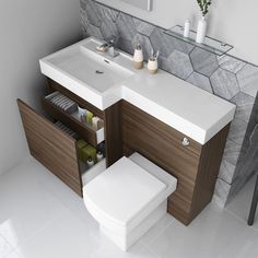 Olympia Walnut Effect Drawer Vanity Unit - Belfort Pan Small Attic Bathroom, Small Toilet Room, Fitted Bathroom, Modern Bathroom, Bathroom Sink Units, Bathroom Mixer Taps, Vintage Bathroom Vanities, Bathroom Renovation Cost, Bathroom Remodeling