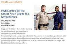 Kevin Briggs presenting at University of New Hampshire on 9/30 w/Kevin Berthia. #ZeroSuicide #Listen2Understand #WeRInThis2gether