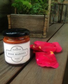 Rose Harissa an amazing condiment, fantastic with Chicken, beef or vegetables. harissa recipe harissa and sue Rose Harissa, Healthy Food, Healthy Recipes, The Selection, Raspberry, Mason Jars, Australia, Beef, Chicken