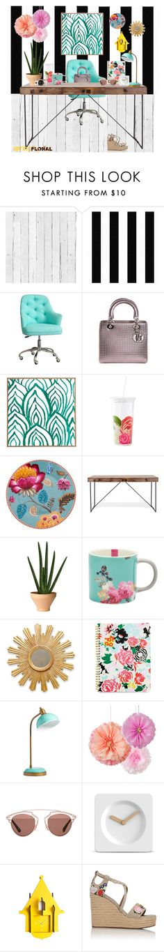 """""""Spring style, Office"""" by danali ❤ liked on Polyvore featuring interior, interiors, interior design, home, home decor, interior decorating, NLXL, Graham & Brown, Christian Dior and DENY Designs"""