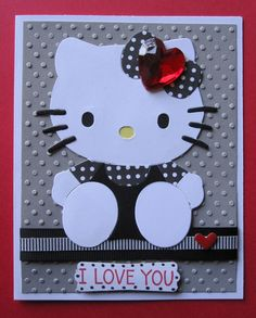 "Handmade ""I Love You"" Black & White Hello Kitty Card"