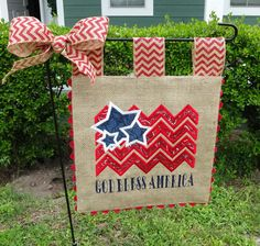 Burlap Garden Flag 4th of July God Bless by sewgoddesscreations
