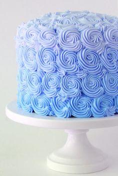 pretty light blue frosting swirl decorated cake!