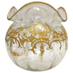 Fabulous Raised Paste Gilt Centerpiece Bowl c. 1900 | From a unique collection of antique and modern glass at https://www.1stdibs.com/furniture/dining-entertaining/glass/