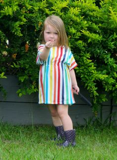 Girls toddlers rainbow stripe dress