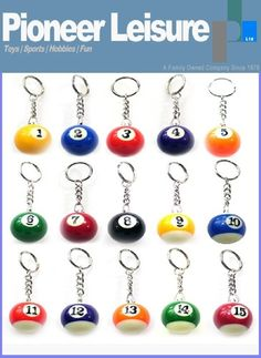 The Pool Ball Key Rings come numbered from 1 to 15, choose your own lucky number or favorite ball to take with you everywhere.