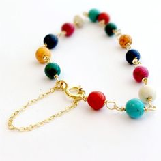 Turquoise Multicolor Bracelet Yellow Gold by jewelrybycarmal, $35.00