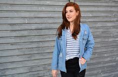 striped, jeans jacket, destryed jeans