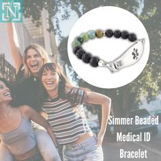 The Simmer beaded medical bracelet is the natural choice for your casual outfit. The combination of Indian agate and lava rock beads on this custom bead bracelet is said to help create stability and tranquility. #jewelry #medicalalert #medicalidjewelry Medical Id Bracelets, Indian Agate, Medical Information, Stability, Lava, Casual Outfits, Beaded Bracelets, Rock, Beads