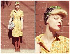 Vintage 1940s Look, Pinup bangs and headscarf  <3 this look from the ModCloth Style Gallery! Cutest community ever. #indie #style
