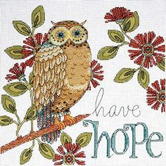 Shop for Heartfelt Have Hope Owl Counted Cross Stitch Kit - 10 14 Count. Get free delivery On EVERYTHING* Overstock - Your Online Sewing & Needlework Shop! Cross Stitch Owl, Cross Stitch Pillow, Cross Stitch Animals, Counted Cross Stitch Kits, Cross Stitching, Cross Stitch Embroidery, Embroidery Patterns, Cross Stitch Patterns, Le Clan