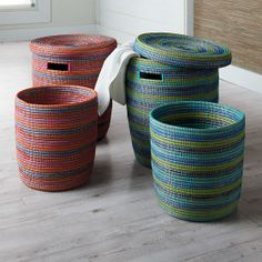 Hamper Basket Set - Simple yet beautiful, this Fair Trade hamper basket set of two represents modern African home decor done right. Hand-woven by an association of more than 100 rural women artisans from the West African nation of Senegal, the hamper basket sets add a unique decorative accent to your home with a very useful function.