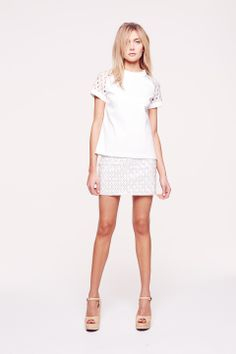 Collette Dinnigan Glistening Diamonds Beaded Sleeve Top & Beaded Mini Skirt