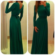 Modest Prom Dress With Sash Long Sleeves Green Formal Evening Dresses
