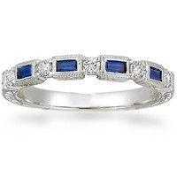 Diamond Anniversary Ring - Sapphire Anniversary Ring - Pave & Scroll Rings