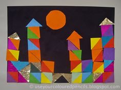 My grade ones created these collages by gluing triangles of coloured paper together to build castles inspired by Paul Klee's (1879 -...
