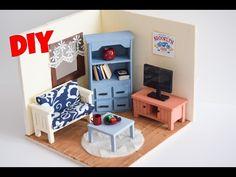 Dollhouse | Miniature Living Room - DIY - YouTube