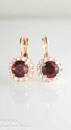 Winter wedding | red wedding | burgundy wedding | marsala wedding | red bridal earrings | red bridesmaid earrings | red crystal earrings | www.endorajewellery.etsy.com