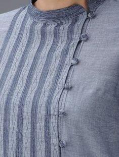Blue Embroidered Mandarin Collar Cotton Kurta