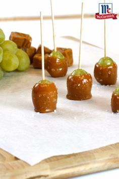 A twist on the classic caramel apple, these salted caramel grape pops are the perfect fall party dessert. Use cotton candy grapes for an extra burst of sweetness.