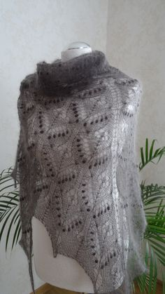 READY TO SHIP!  Hand knitted drk ash grey lace shawl. Soft , warm, fluffy and very cozy. Made of very soft and lightweight luxury yarn. Knitted by Estonian traditional stitch pattern - Queen Silvia. This shawl looks great with jeans, dress, skirt, or wear in front and tie around neck over a coat for those very cold days.   Hand knitted by me.  Itś lace - weight approx 70gr.  Mannequin size - M/L  Measures - 110cm (43,3`´) x210 cm (´´)  Material - Kid mohair 70%  polyamid 30 %  Colo...