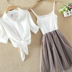 Women Suits Casual Clothing Sets Crop Top Fold Tulle Skirt Blouse 2 piece Dress Sets 2018 Summer Dress Suit Twin Sets Plus Size - Summer Dresses Stylish Dresses, Cute Dresses, Casual Dresses, Summer Dresses, Maxi Dresses, Party Dresses, Work Dresses, Girls Fashion Clothes, Teen Fashion Outfits