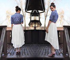 C&C: Sheer gathered low-high skirt tutorial