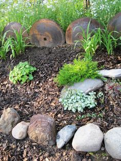 Discs from an old farm implement repurposed into a rustic plant