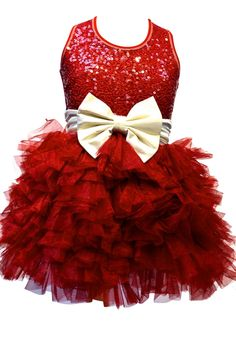 """Ooh La La Couture Wow """"Dream"""" Holiday Red Sequin Dress w/Ivory BowSizes 12M-12"""