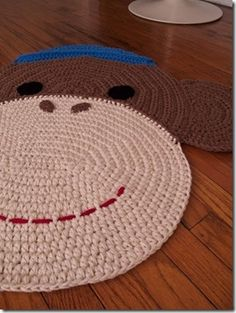 crochet sock monkey rug made by etsy shop peanutbutterdynamite Crochet Sock Monkeys, Crochet Monkey, Crochet Socks, Knit Crochet, Crochet Home Decor, Crochet Crafts, Yarn Crafts, Yarn Projects, Crochet Projects