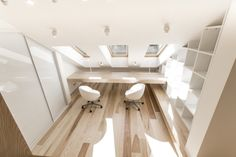 Loft Apartment is a minimalist house located in Moscow, Russia, designed by Ruetemple. The project is a top-floor apartment within an attic. Apartment Renovation, Attic Apartment, Attic Rooms, Attic Spaces, Attic House, Attic Loft, Attic Ladder, Attic Staircase, Attic Window
