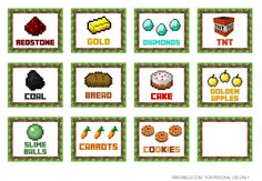 Free Minecraft Party Printables for your Minecraft birthday party! See more part… - Minecraft World Minecraft Food Labels, Minecraft Party Food, Minecraft Birthday Party, Boy Birthday Parties, Birthday Fun, Birthday Crafts, Party Crafts, Minecraft Invitations, Party Printables