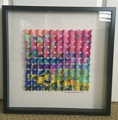 Our kindergarten class art project for our school auction 2016. We made abstract scrape paintings and then used a butterfly punch and folded and mounted each