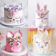 Cupcakes, Cupcake Cakes, Girls First Birthday Cake, Fondant Cake Designs, Cake Decorating Frosting, Beautiful Birthday Cakes, Animal Cakes, Big Cakes, Dessert Decoration