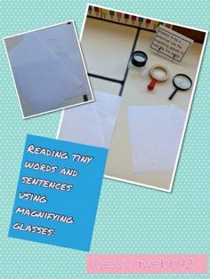 Reading tiny sentences and words using magnifying glasses. EYFS