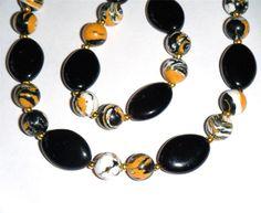 "Black, yellow, white bead necklace, glass & Turkey Turquoise 16.1/2"" long (42cm)"