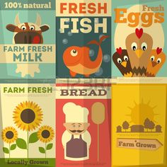 Frische Bio Farm Food Poster Set Retro Plakat in Flat Design Style Vektor Illustration  Lizenzfreie Bilder