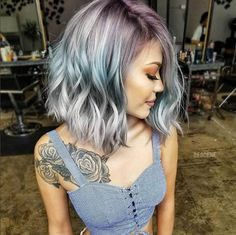 "( on Ins ""Triple Color Melt—Mauve, Teal and Silver on a textured, undone lob —by Beautiful Hair Color, Brazilian Hair Weave, Coloured Hair, Pastel Hair, Love Hair, Silver Hair, Hair Highlights, Human Hair Extensions, Hair Trends"