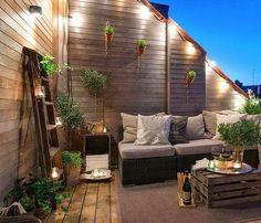 #Terraza_otoñal con mucha madera.