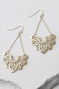 """Add a little floral flair with the Flourish Gold Earrings! Dangling shiny gold earrings with a floral motif. Earrings measure 2""""."""