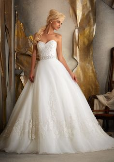 bridal gown from Mori Lee by Madeline Gardner Dress Style 1917 Beaded Alencon Lace on Tulle