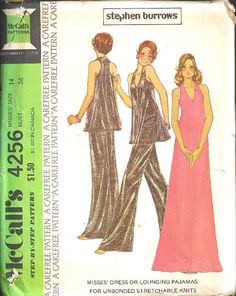 McCalls Dress/Lounging Pajamas Pattern 4256 Vintage UNCUT  size 14 FREE SHIPPING. $20.00, via Etsy.