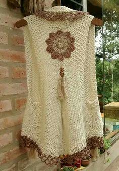 Crochet Coat, Crochet Jacket, Thread Crochet, Crochet Yarn, Crochet Clothes, Crochet Waistcoat, Knitting Patterns, Crochet Patterns, Vest Pattern