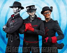 Rabbit, Hatchworth and The Spine from Steam Powered Giraffe. Find more group and individual prints of all the band members in our SPG Store.